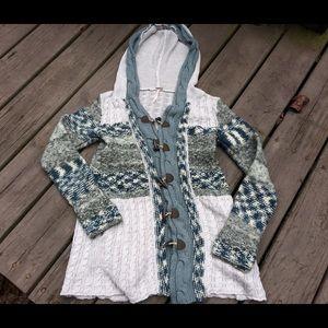 🌿Free People hooded toggle boho knit cardigan